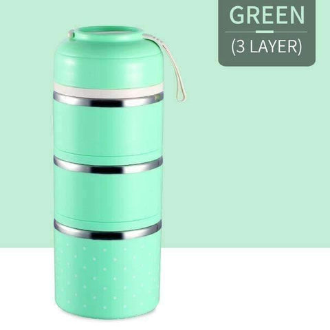 Image of trendyholo.com Green 3 Layer Stainless Steel Compartment Lunch Box