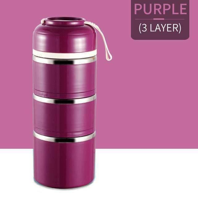 trendyholo.com Purple 3 Layer Stainless Steel Compartment Lunch Box