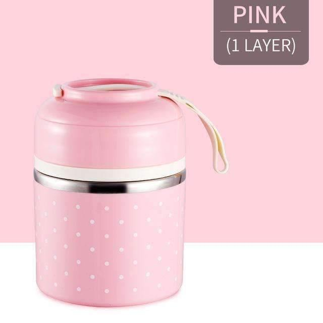 trendyholo.com Pink 1 Layer Stainless Steel Compartment Lunch Box