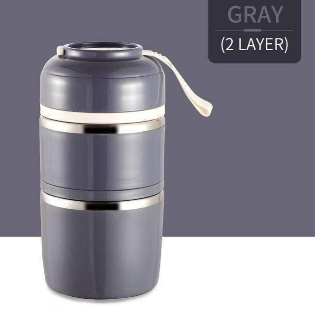 trendyholo.com Gray 2 Layer Stainless Steel Compartment Lunch Box