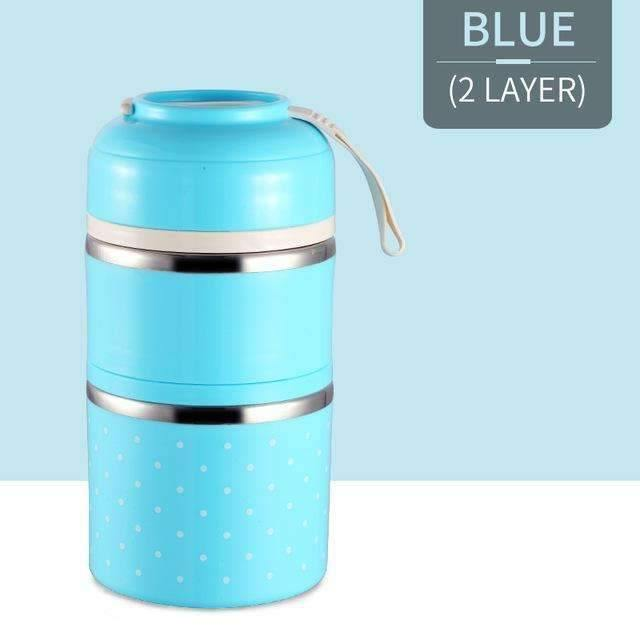 trendyholo.com Blue 2 Layer Stainless Steel Compartment Lunch Box