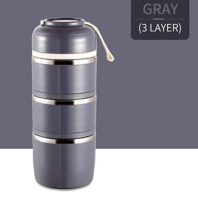 trendyholo.com Gray 3 Layer Stainless Steel Compartment Lunch Box
