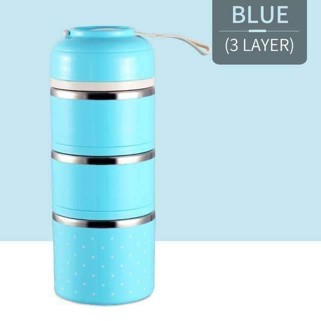 trendyholo.com Blue 3 Layer Stainless Steel Compartment Lunch Box