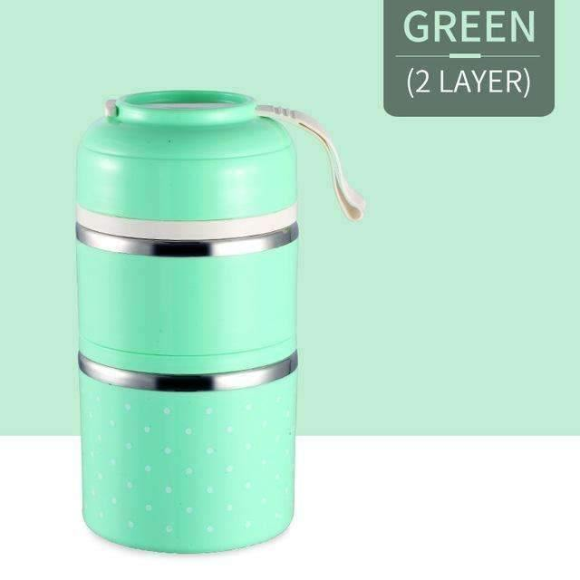 trendyholo.com Green 2 Layer Stainless Steel Compartment Lunch Box