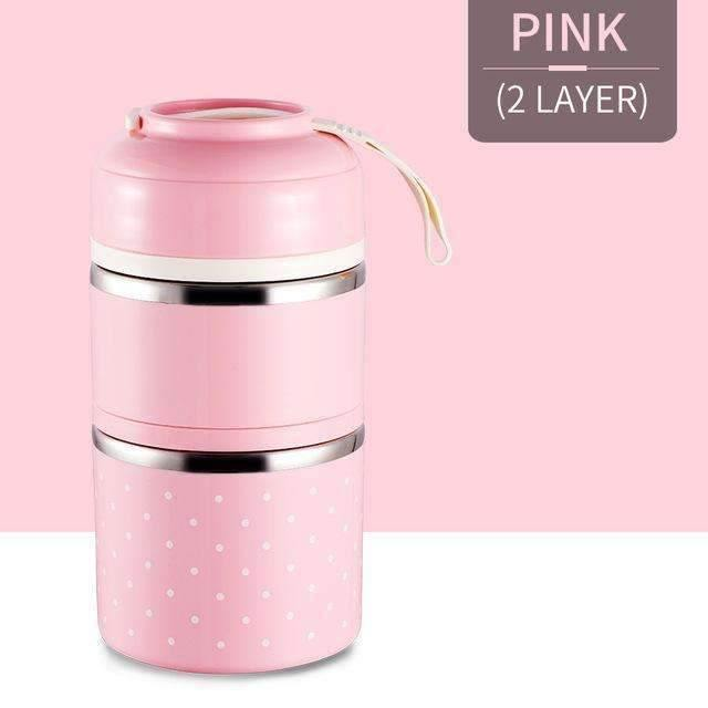trendyholo.com Pink 2 Layer Stainless Steel Compartment Lunch Box