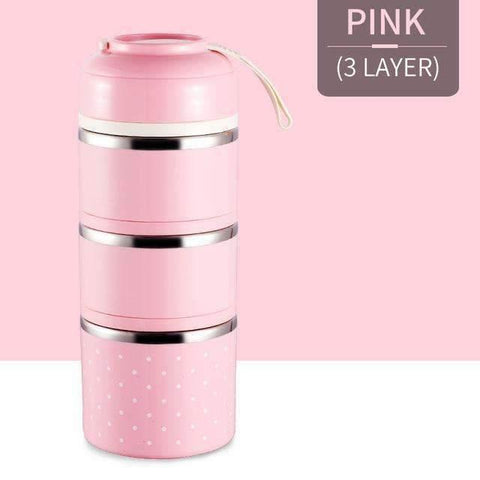 Image of trendyholo.com Pink 3 Layer Stainless Steel Compartment Lunch Box