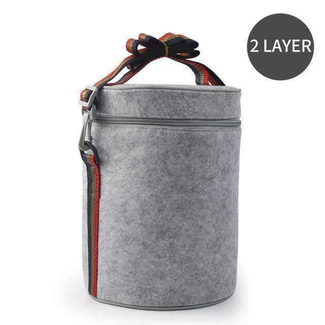 trendyholo.com 2 Layer Bag Stainless Steel Compartment Lunch Box