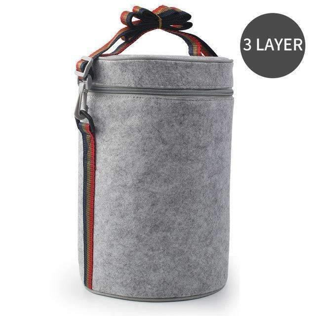 trendyholo.com 3 Layer Bag Stainless Steel Compartment Lunch Box