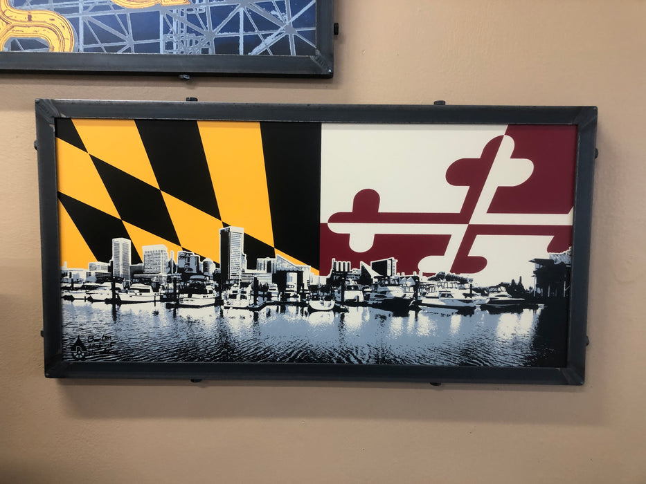 Baltimore Skyline Maryland Flag Steel Frame Wall Art