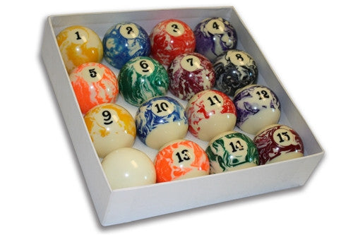 Marble Swirl Billiard Pool Ball Set