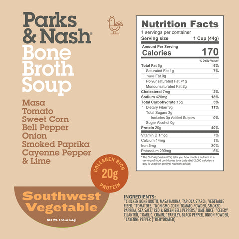 Southwest Vegetable Bone Broth Soup - 6 pack