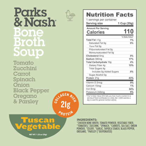 Tuscan Vegetable Bone Broth Soup - 6 or 12 Pack