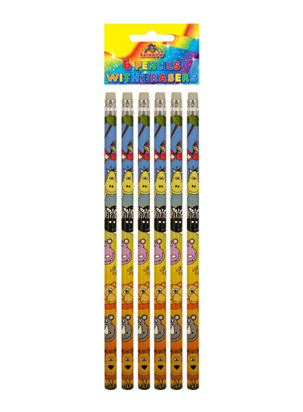 6 Jungle Animal Pencils with Erasers