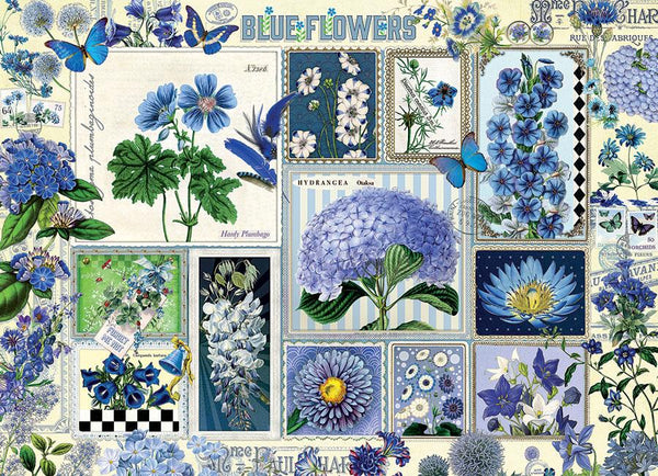 Cobble Hill Blue Flowers Jigsaw Puzzle (1000 Pieces)