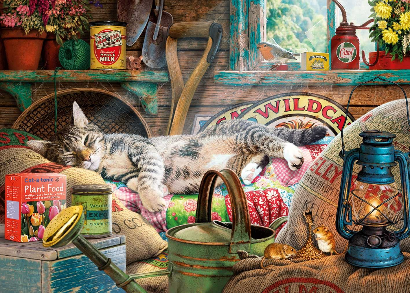 Gibsons Snoozing In The Shed Jigsaw Puzzle (500 XL pieces)