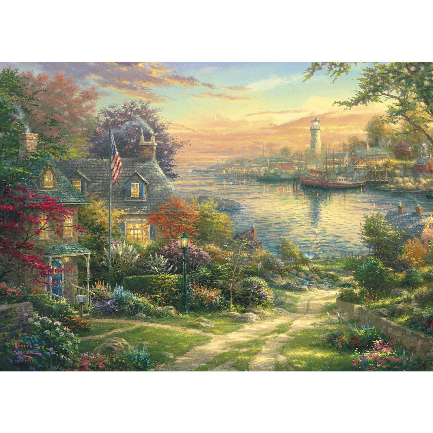 Gibsons Kinkade New England Harbour Jigsaw Puzzle (1000 Pieces)