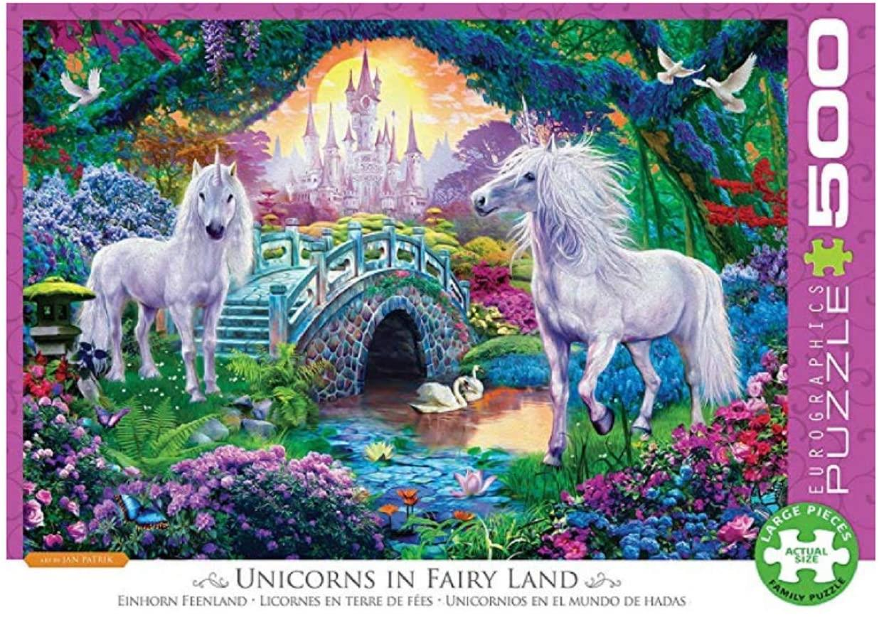Eurographics Unicorns in Fairy Land Jigsaw Puzzle (500 XL Large Pieces)