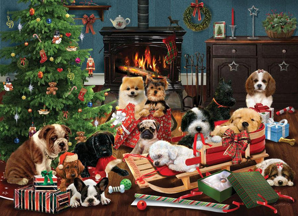 Cobble Hill Christmas Puppies Jigsaw Puzzle (500 Pieces)