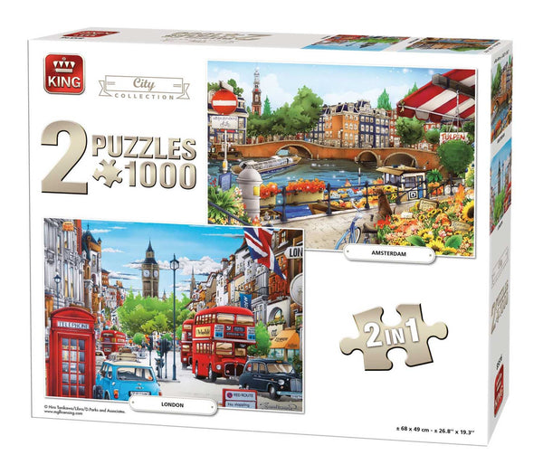 King 2 In 1 City Illustrated Collection Jigsaw Puzzle (1000 Pieces)