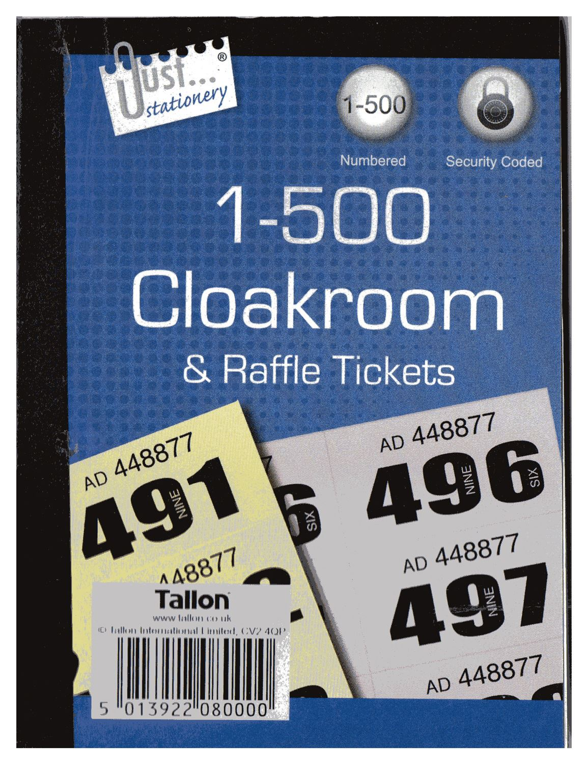 Book of 500 Raffle / Cloakroom Tickets