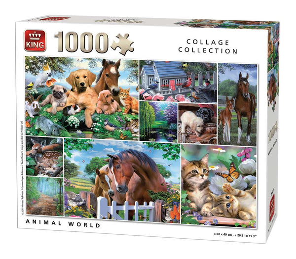King Animal World Collage Jigsaw Puzzle (1000 Pieces)
