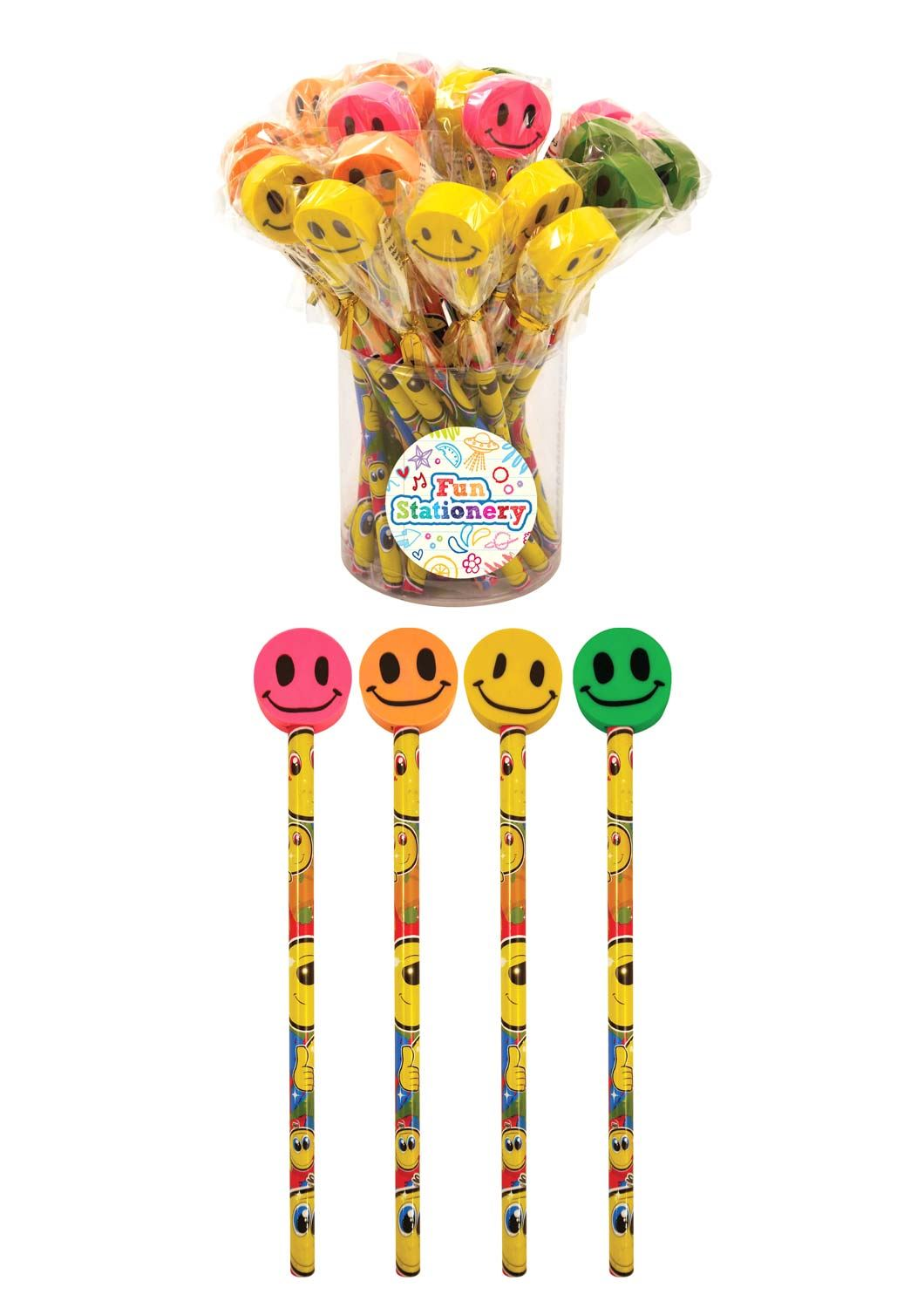 24 Smiley Pencils With Eraser Tops