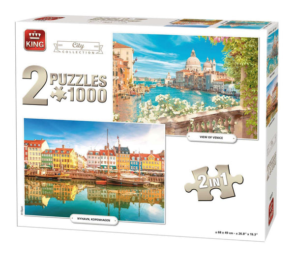 King 2 In 1 City Collection Jigsaw Puzzle (1000 Pieces)