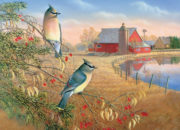 Cobble Hill Cedar Waxwings Jigsaw Puzzle (1000 Pieces)