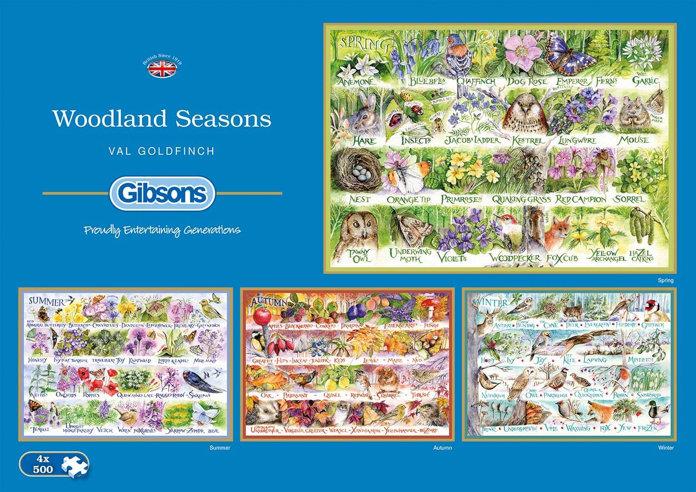 Gibsons Woodland Seasons Jigsaw Puzzle (4 x 500 pieces)