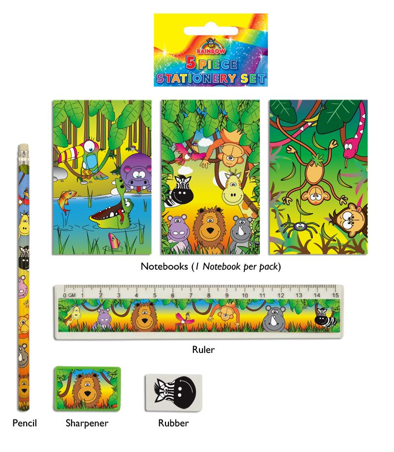 Jungle 5-Piece Stationery Set