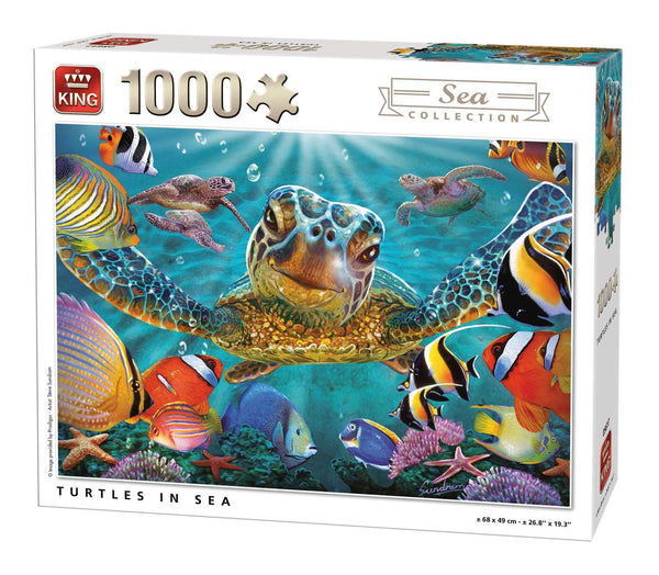 King Turtles In Sea Jigsaw Puzzle (1000 Pieces)