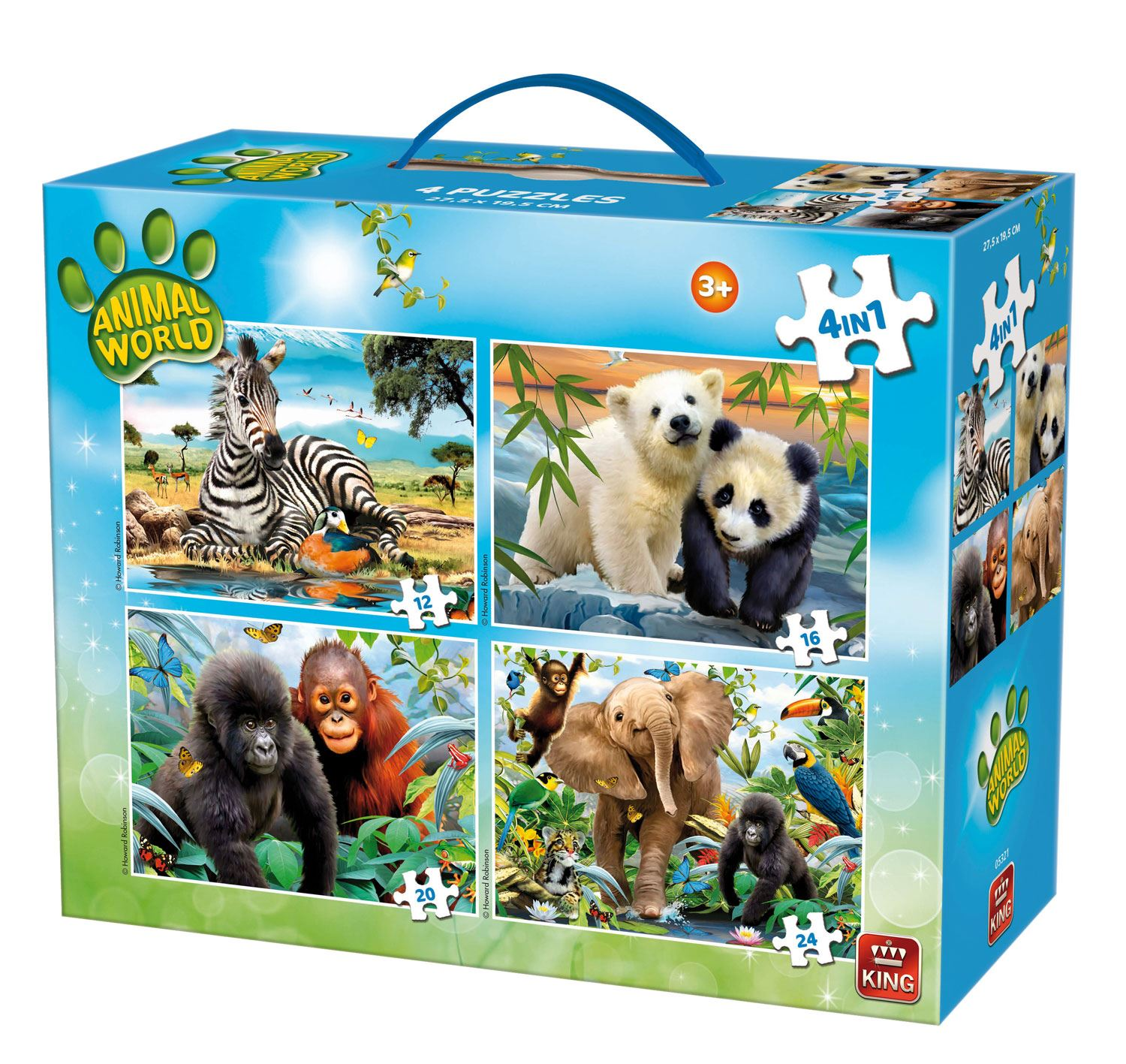 King Animal World 4-in-1 Carry Case Jigsaw Puzzles (12 - 24 Pieces)