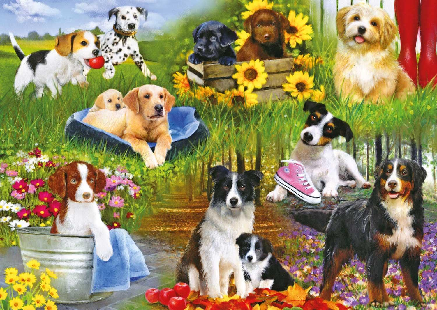 Gibsons Playful Pups Jigsaw Puzzle (500 Pieces)
