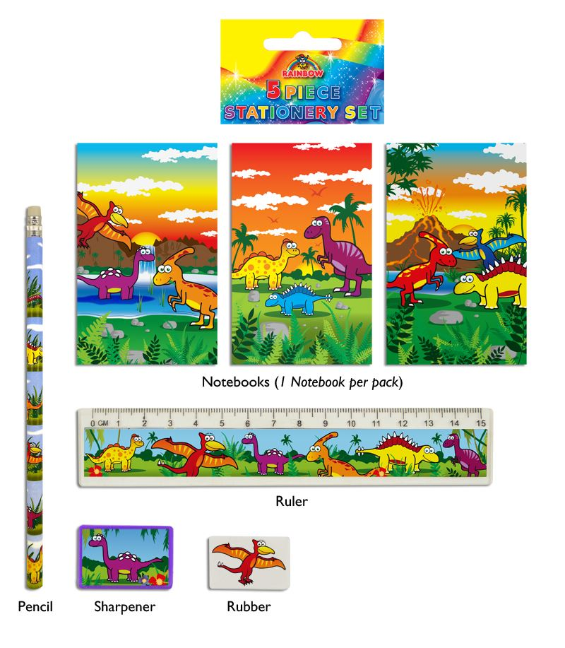 Dinosaur 5-Piece Stationery Set
