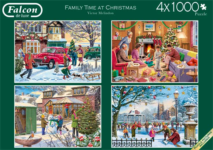 Christmas Jigsaw Puzzles.Falcon Deluxe Family Time At Christmas Jigsaw Puzzles 4 X 1000 Pieces