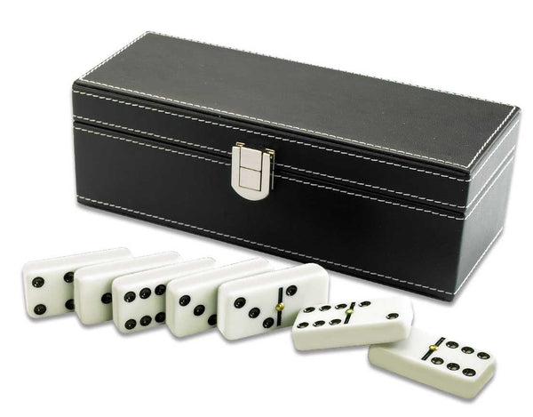 Traditional Dominoes in Black Faux Leather Case