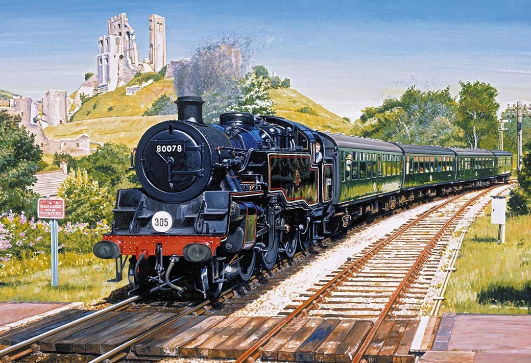 Gibsons Corfe Castle Crossing Jigsaw Puzzle (500 Pieces)