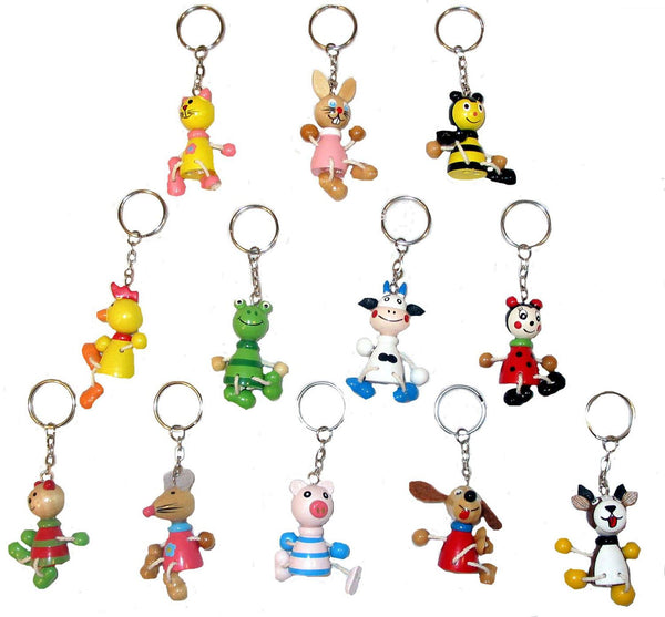 60 Assorted Wooden Animal Keychains