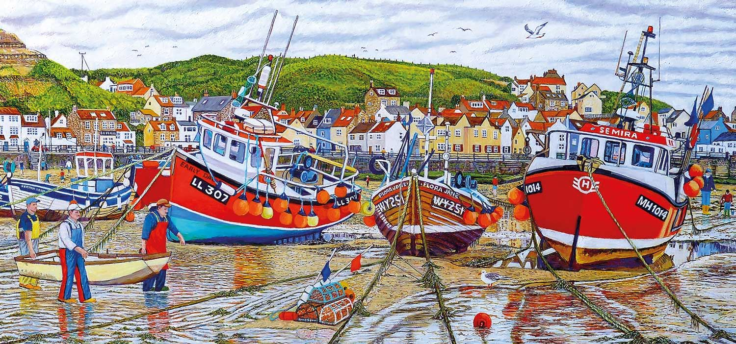 Gibsons Seagulls At Staithes Jigsaw Puzzle (636 pieces)