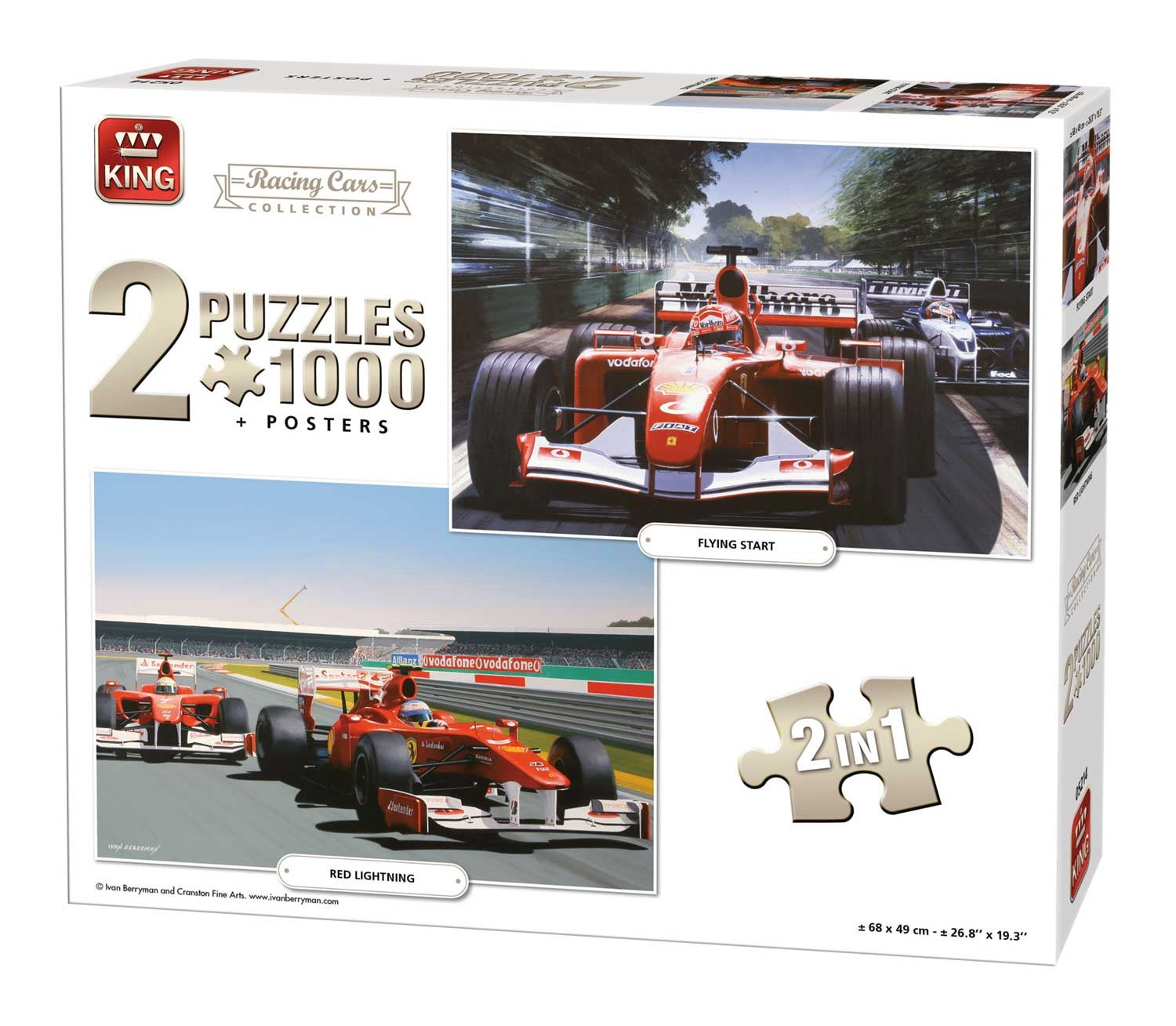 King 2 In 1 Racing Cars Collection Jigsaw Puzzle (1000 Pieces)