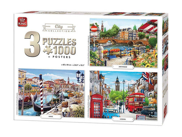 King City 3-In-1 Compendium Jigsaw Puzzles (3 x 1000 Pieces)