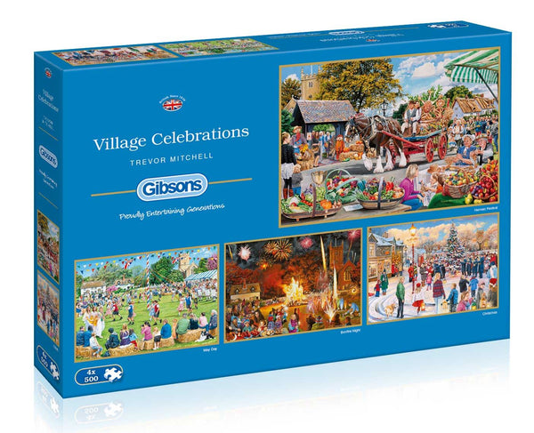 Gibsons Village Celebrations  Jigsaw Puzzles (4 x 500 Pieces)