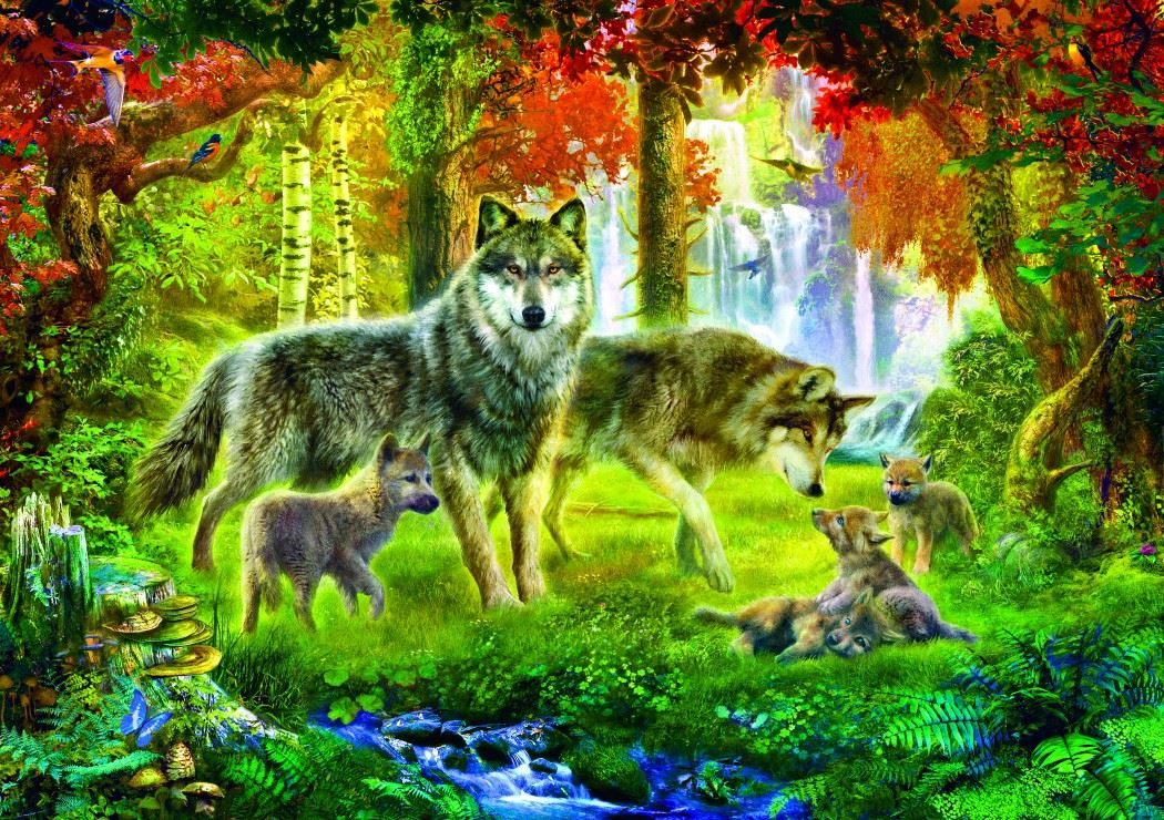 Bluebird Summer Wolf Family Jigsaw Puzzle (1000 Pieces)