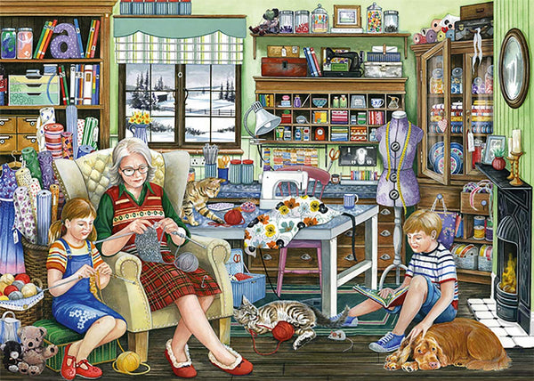 Falcon Deluxe Granny's Sewing Room Jigsaw Puzzle (1000 Pieces)