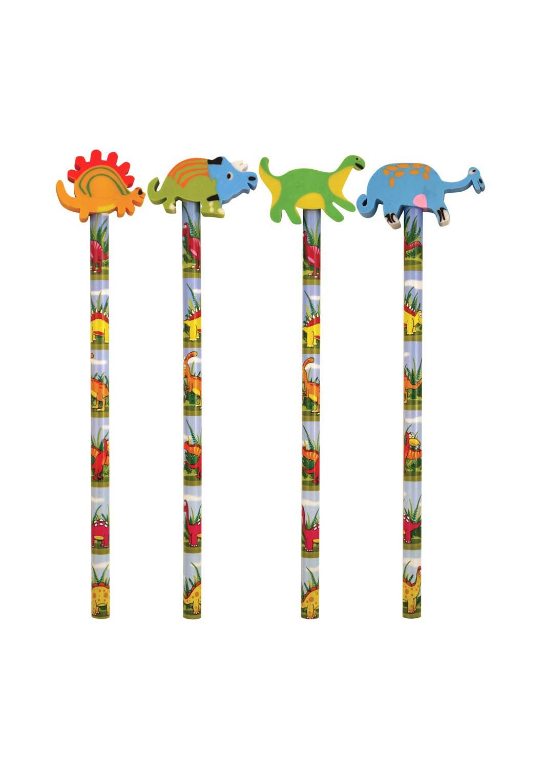 12 Dinosaur Pencils With Eraser Tops
