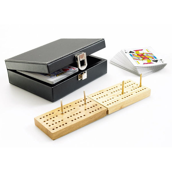 Traditional Cribbage Set in Black Faux Leather Case