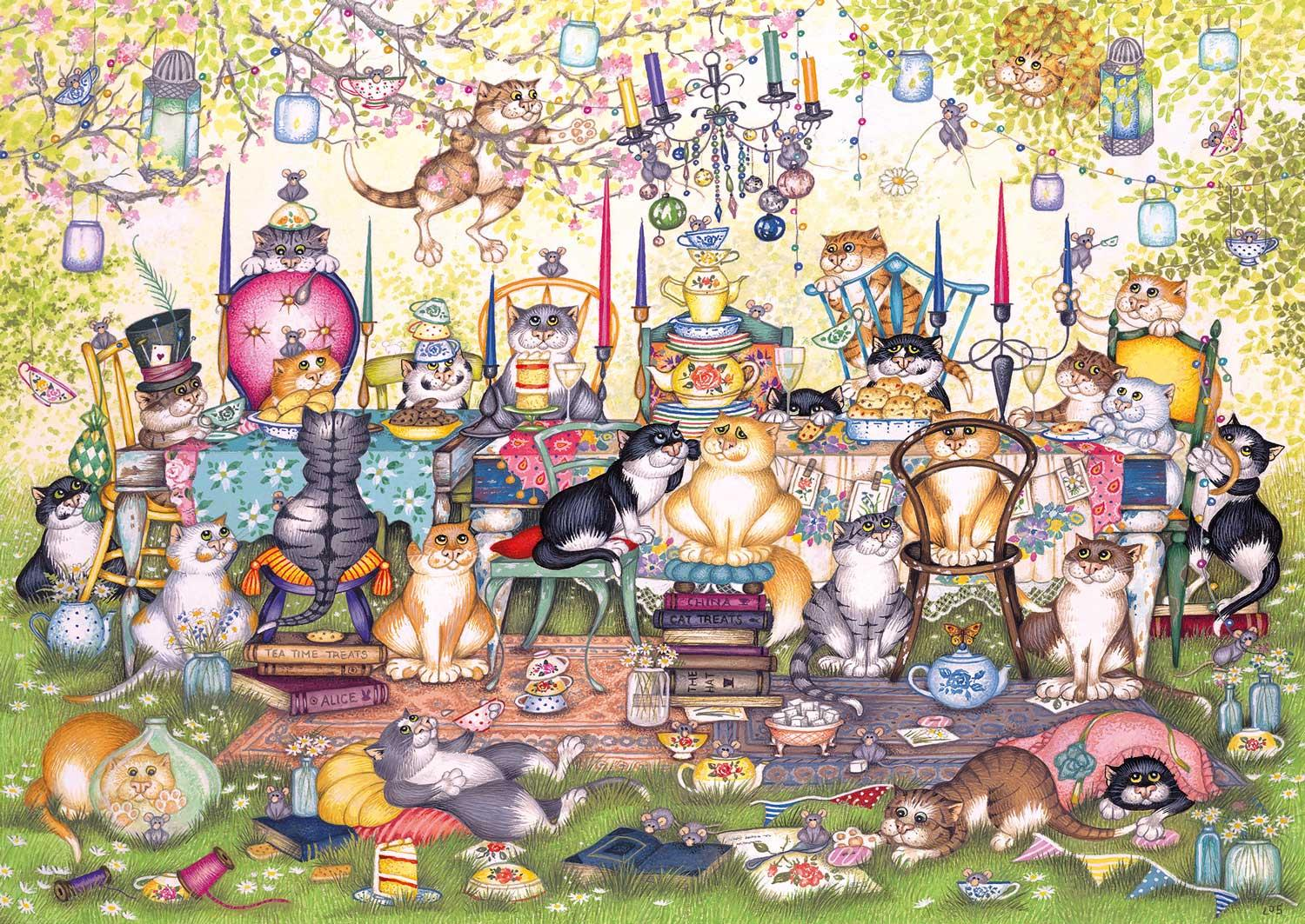 Gibsons Mad Catter's Tea Party Jigsaw Puzzle (250 XL Pieces)