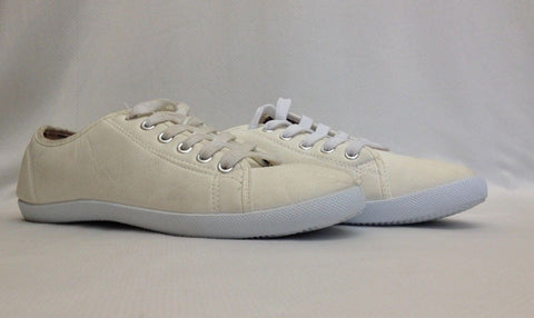 Women's Ladies White Plimsolls Pumps Gym Trainers Lace Up Sport Shoes New Size