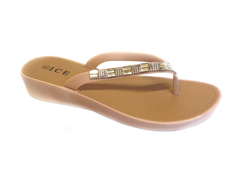 WOMENS LADIES WEDGE JELLY SANDALS LOW HEEL FLIP FLOPS DIAMANTE TOE POST SIZE