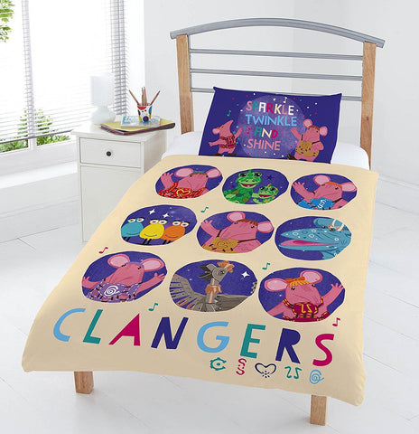The Clangers Circles Kids Junior Duvet Bed Set Bedding Quilt Cover Pillowcase UK